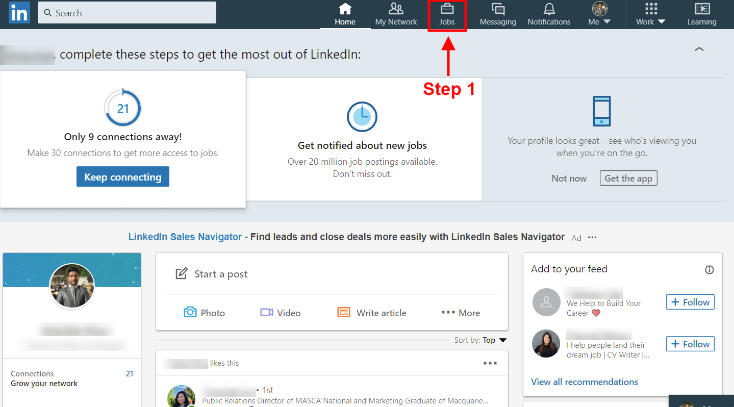 How to find saved jobs on Linkedin desktop site