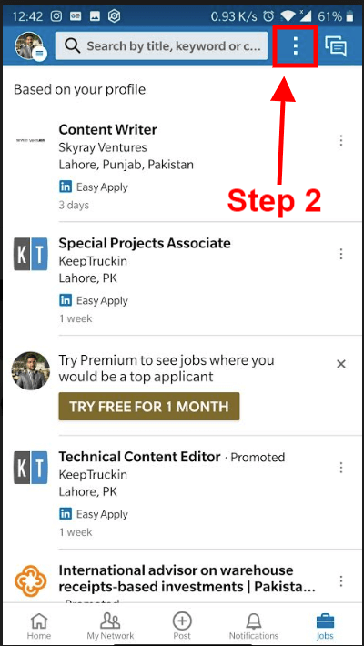 How to find saved jobs on Linkedin android app_1