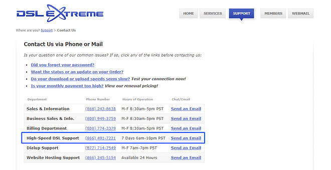 DSL Extreme Webmail Support