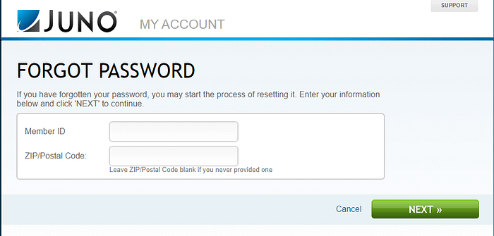 juno webmail forgot password
