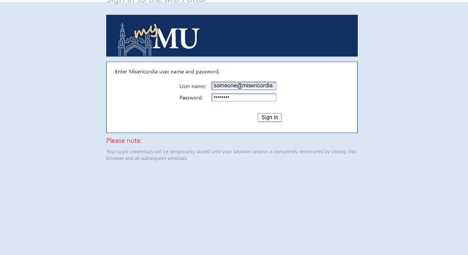 Misericordia Webmail Login page to myMU