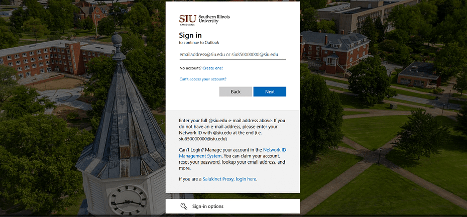 SIU Webmail Login using office 365-min