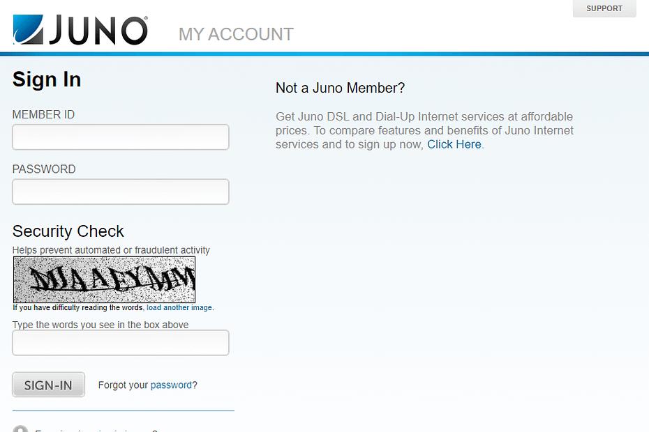 juno mobile webmail login page