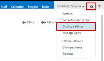 Figure 7 – ClicHWS WEBMAIL LIGHT VERSIONk gear sign and then Display settings